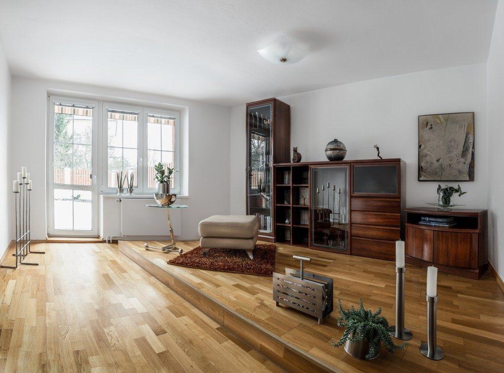 livining room with parquet flooring