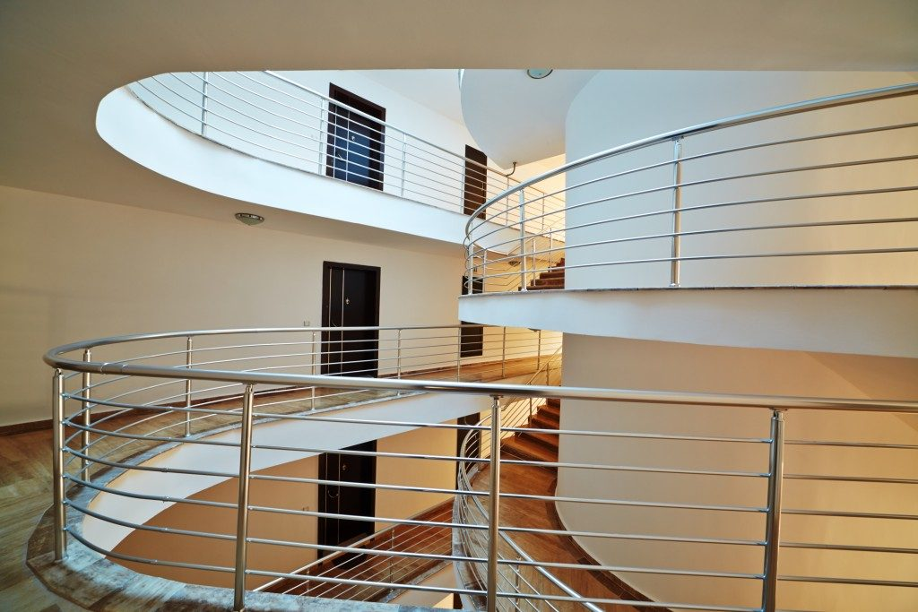 spiral staircase in a hotel