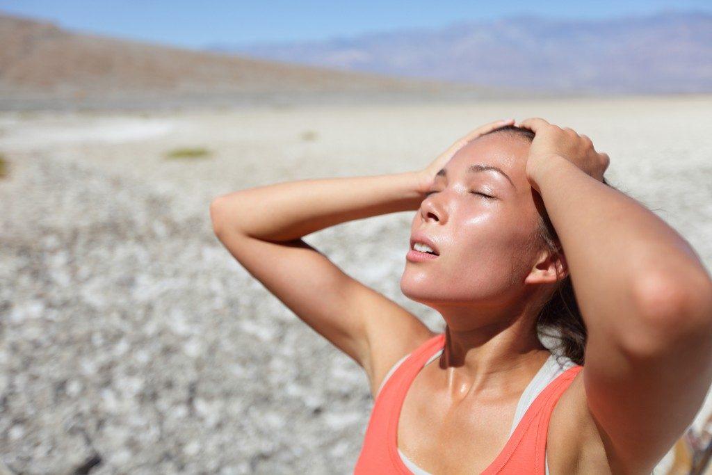 woman having a heatstroke