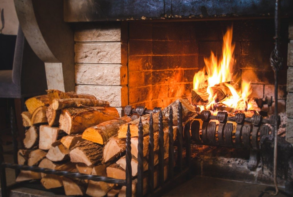 Fireplace and wood blocks
