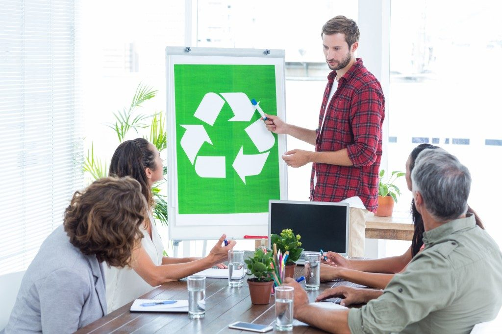eco-friendly discussion in the office