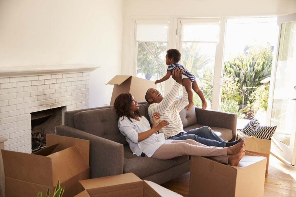 family in their new house