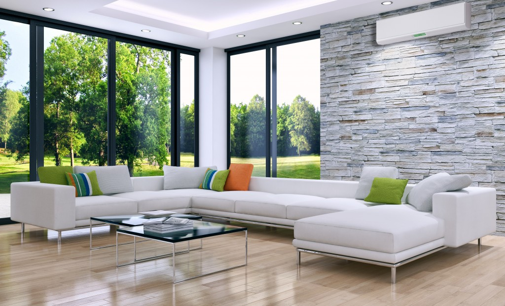 Modern bright room with air conditioning
