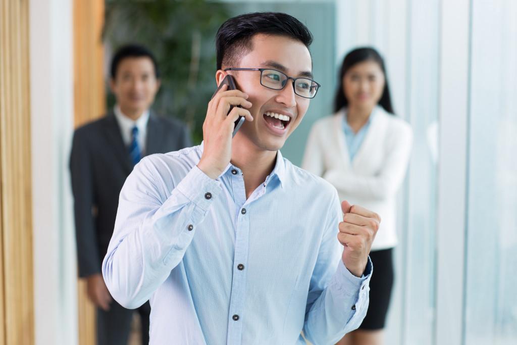 salesman talking on phone